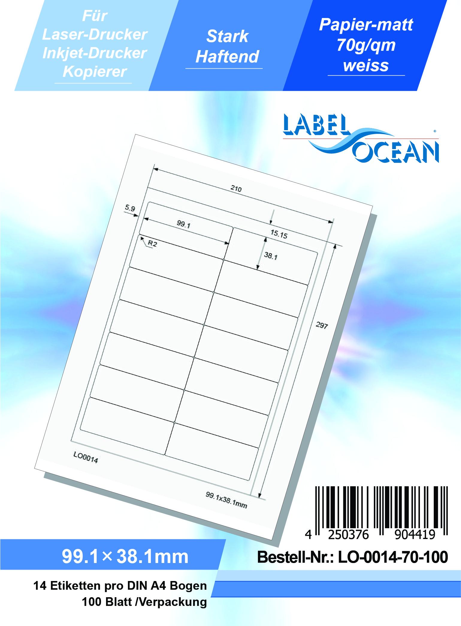 10 Blatt Laser Inkjet Kopierer Klebeetiketten DIN A4 weiß 70x52mm
